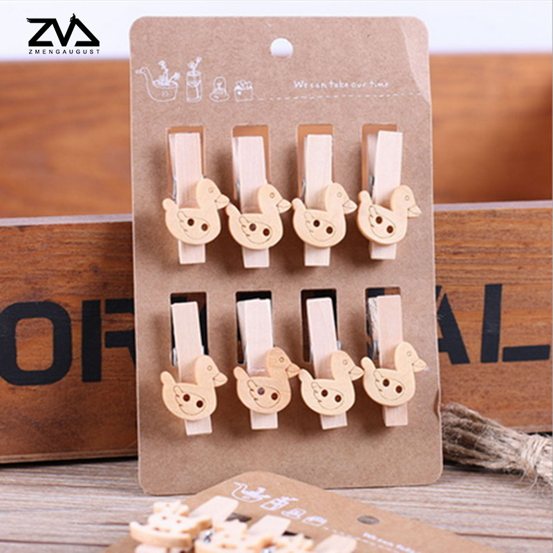8pcs/bag Cartoon Spring Wood Clips Party Decoration Photo Paper Craft Diy Clips With Hemp Rope Free Shipping