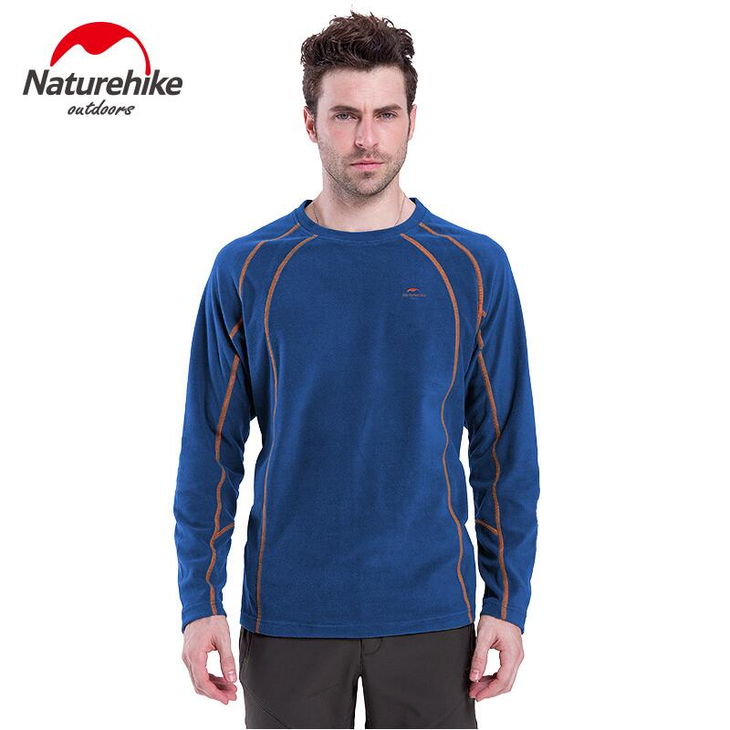 Naturehike T Shirts Outdoor Winter Hiking Men's Long Sleeve Fleece Warm Round Neck Quick Dry Jackets Liner 5 Colors green cut out camouflage round neck long sleeves t shirts