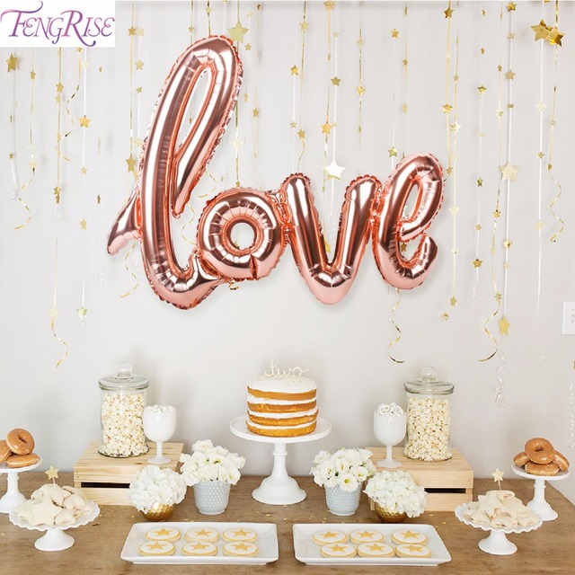 FENGRISE Rosegold Love Letter Foil Balloons Champagne Love Balloon Wedding Party Decoration Valentines Day Gift Marriage Decor