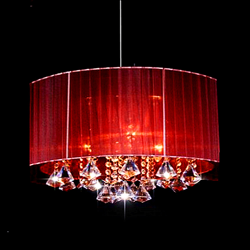 Модерна једноставна мода Овал дневна соба Соба водио лустер светло Плафонска светла Брушена тканина абажур к9 кристал луминариа