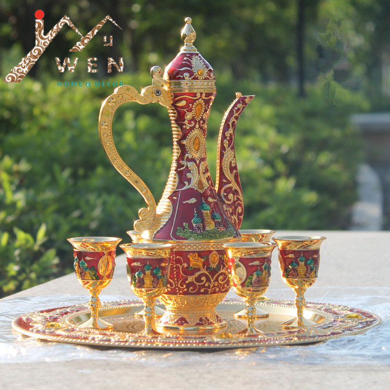 New arrival 12 plate Gold with red color metal coffee set wine set/tea set fashion zinc alloy wine set home decorationNew arrival 12 plate Gold with red color metal coffee set wine set/tea set fashion zinc alloy wine set home decoration