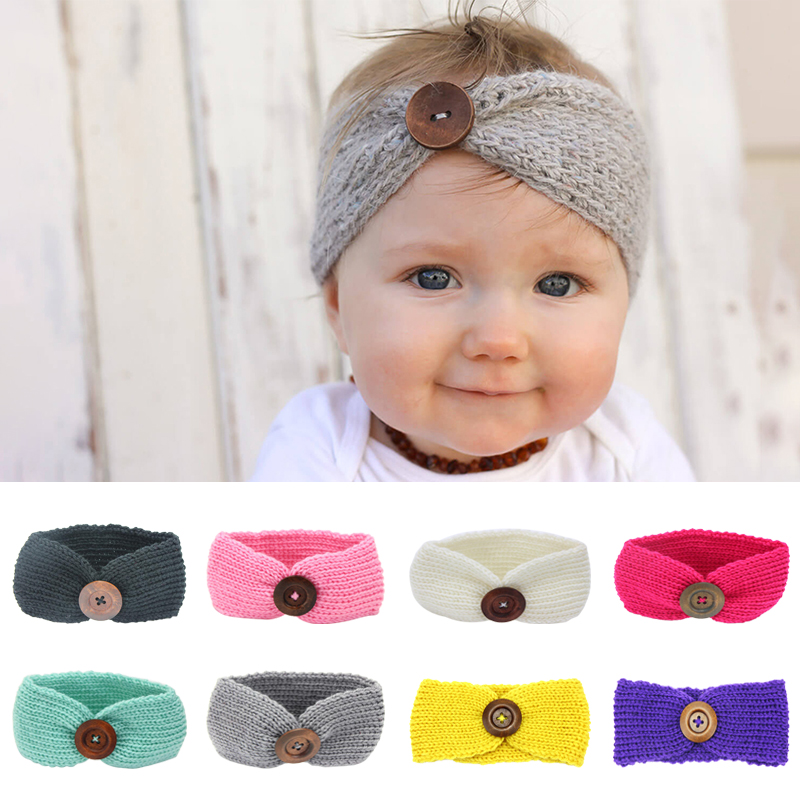 Newborn Turban With Button Candy Color Elastic Baby Headband For Boys And Girls Infant Kids Hairband Hair Accessories