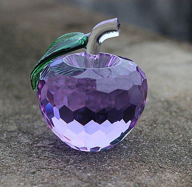 1PC Modern 3D Crystal Paperweights Glaze for Apple Figurine Ornaments Crystal Crafts Office Desktop Decor LH 006 3