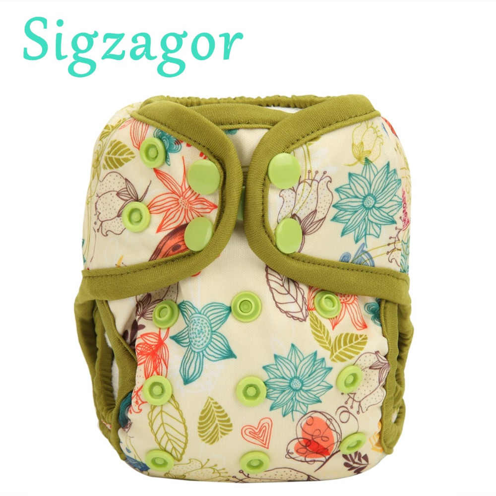 Sigzagor Baby Diaper Cover Nappy One Size 10lbs to 36lbs Turtle