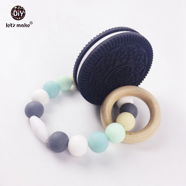 Baby Teether Nursing Bracelet Sensory Tool Wood Ring Biscuit Food Grade Chewble Silicone Beads Teething Accessories Baby Rattles