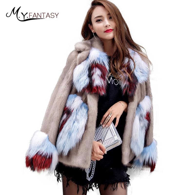 M.Y.FANSTY 2019 Women's Fur Mink Coat Contrast Color Full Pelt Real Fur With Fox Fur Collar Fox Sleeve Long Flower Mink Coats