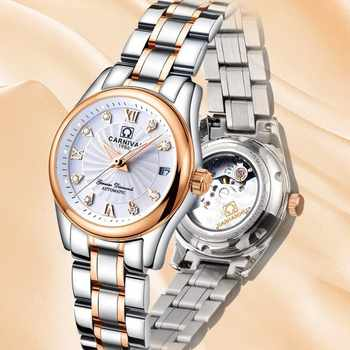 CARNIVAL Fashion Automatic Watch Women Calendar Top brand Women watches Luminous Waterproof Sapphire Full Steel Relogio femenino