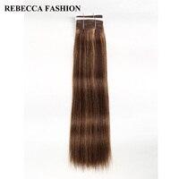 Rebecca Non Remy Brazilian Yaki Straight Human Hair Bundles 1 PC 7 Colored Balayage Brown Blonde