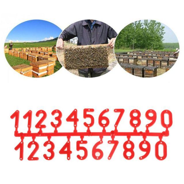 Conjunto Colméia 1 Número Vermelho Caso Quadro De Sinal De Caixa De Ferramentas de Apicultura Abelha Marque Os Números de Identificação Cartão Digital Placa de Plástico Equipar