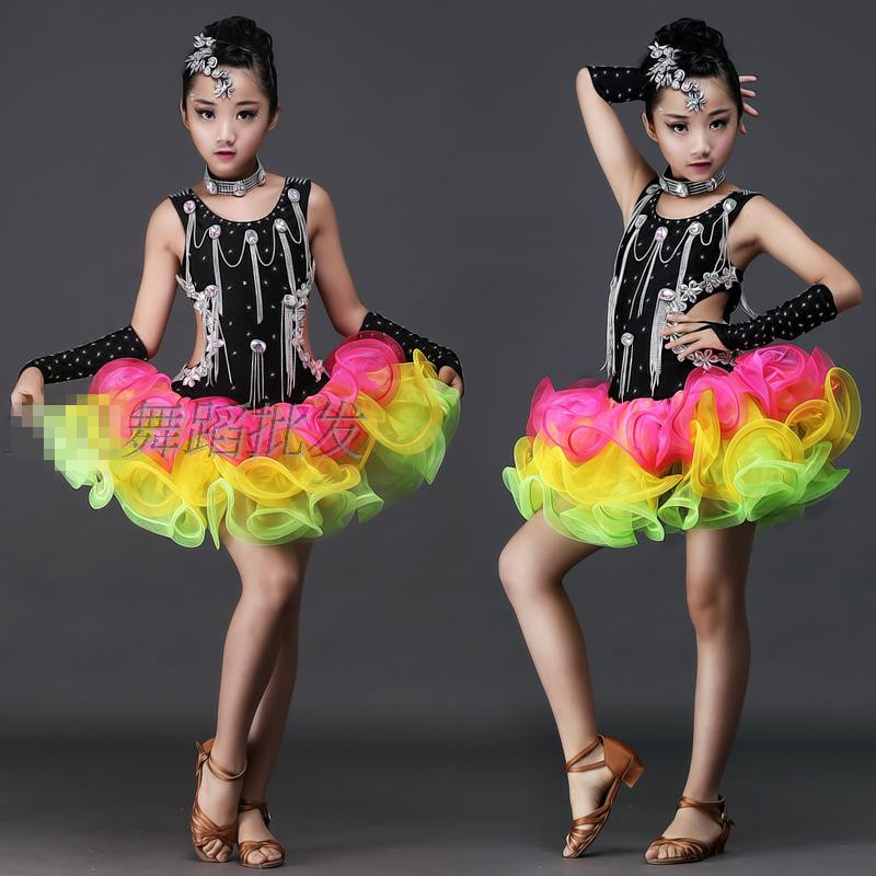 Sequin Girls Latin Dance Dress for Stage Children Ballet Tutu Dance Dress Children Jazz Dance Costume Ballroom Dancing Dresses 9 european and american girls latin dance jazz dance professional dance costume stage performance apparel suit