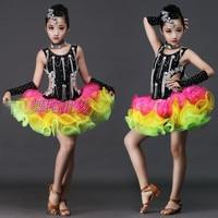 Sequin Girls Latin Dance Dress For Stage Children Ballet Tutu Dance Dress Children Jazz Dance Costume