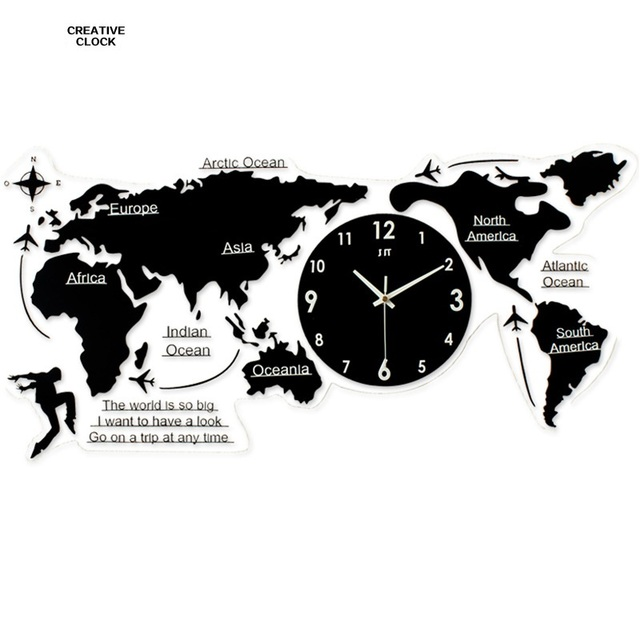 Geekcook world map wall clock home decor wall watch living room geekcook world map wall clock home decor wall watch living room bedroom mute clock wall large gumiabroncs Gallery