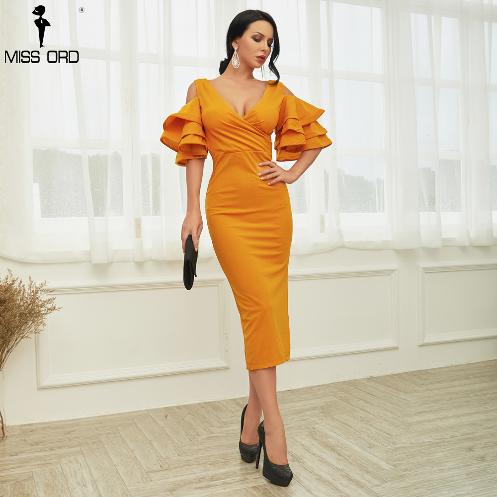Missord 2019 Vestidos Verano Sexy  Off Shoulder Deep V  ruffle   Butterfly Short Sleeve Dresses Women Elegant Party Dress TB0023