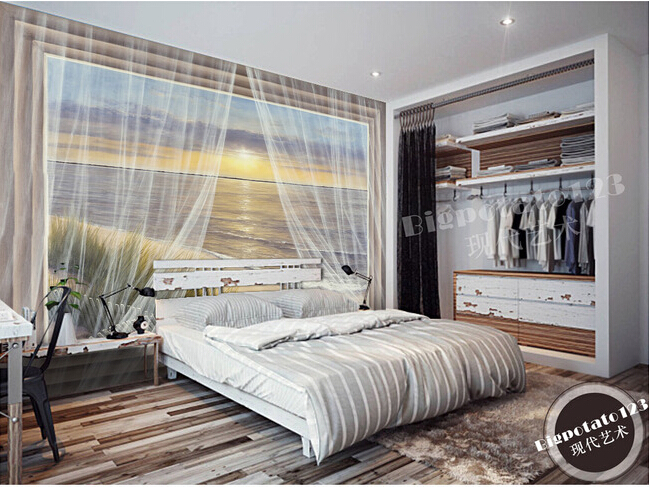 Custom 3D murals, the sea beach dawn yarn quality curtains painting, living room sofa TV wall bedroom background wall paper the latest 3d murals dream of the sun exposure forest trees stone waterfall scenery living room tv sofa bedroom wall paper