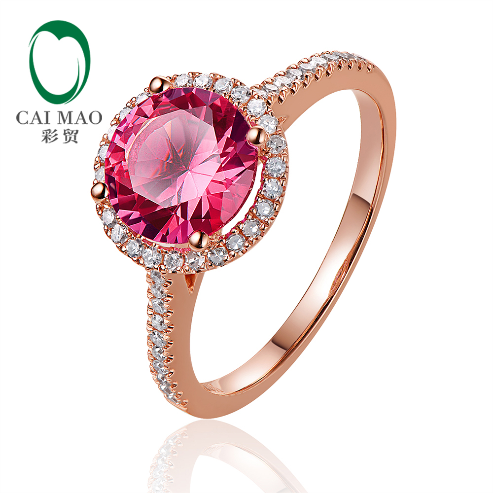 Caimao Jewelry 14kt Rose Gold 2.31ct Pink Topaz and 0.24ct Natural Diamond Engagement Ring caimao jewelry 14kt rose gold 2 31ct pink topaz and 0 24ct natural diamond engagement ring