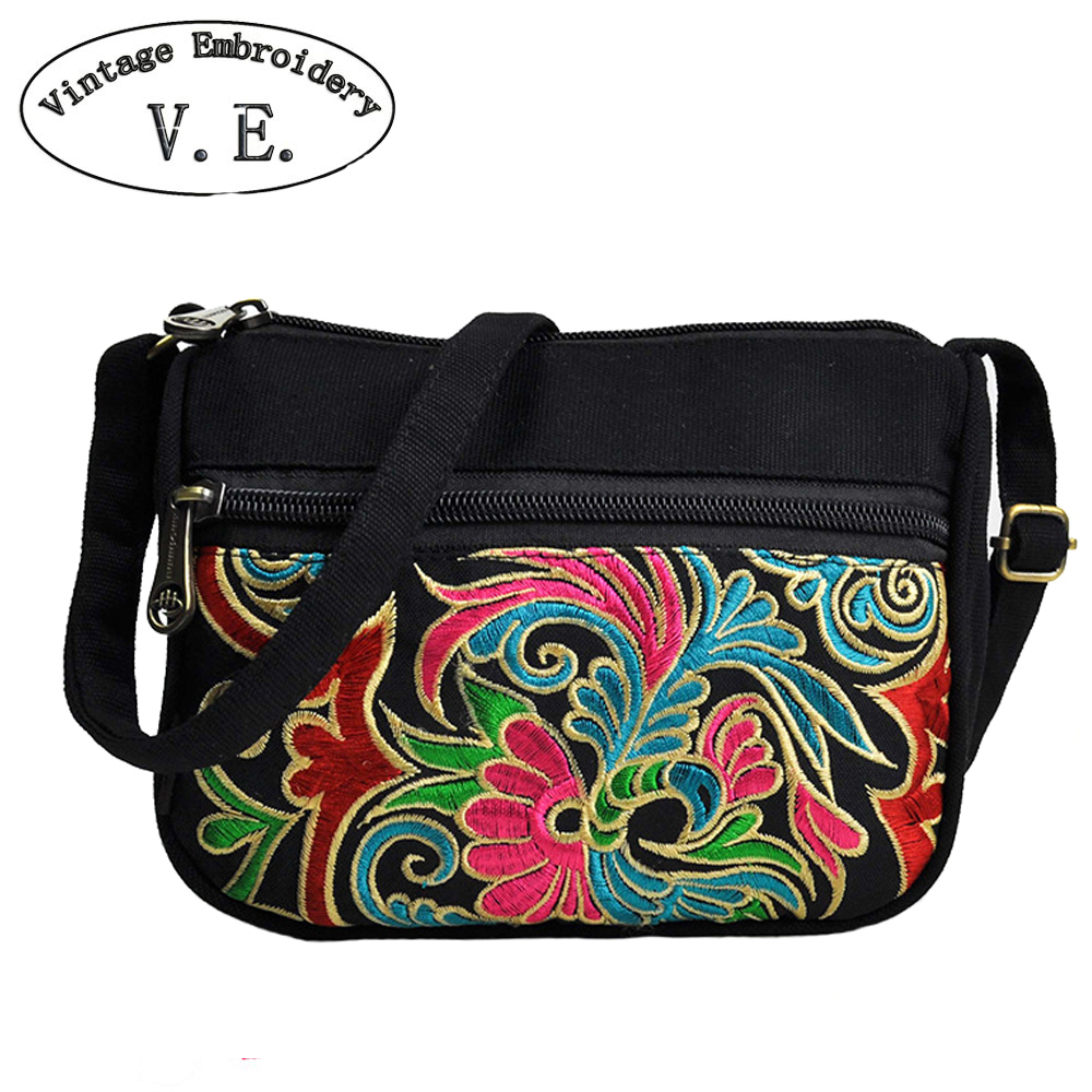 Vintage Embroidery Women Shoulder Bag Retro Design Women Messenger Bags Canvas Handbag Ladies Bag Casual Flap Bolsa Femininas new 2016 women bag vintage canvas handbags messenger bags for women handbag shoulder bags high quality casual bolsa l4 2669