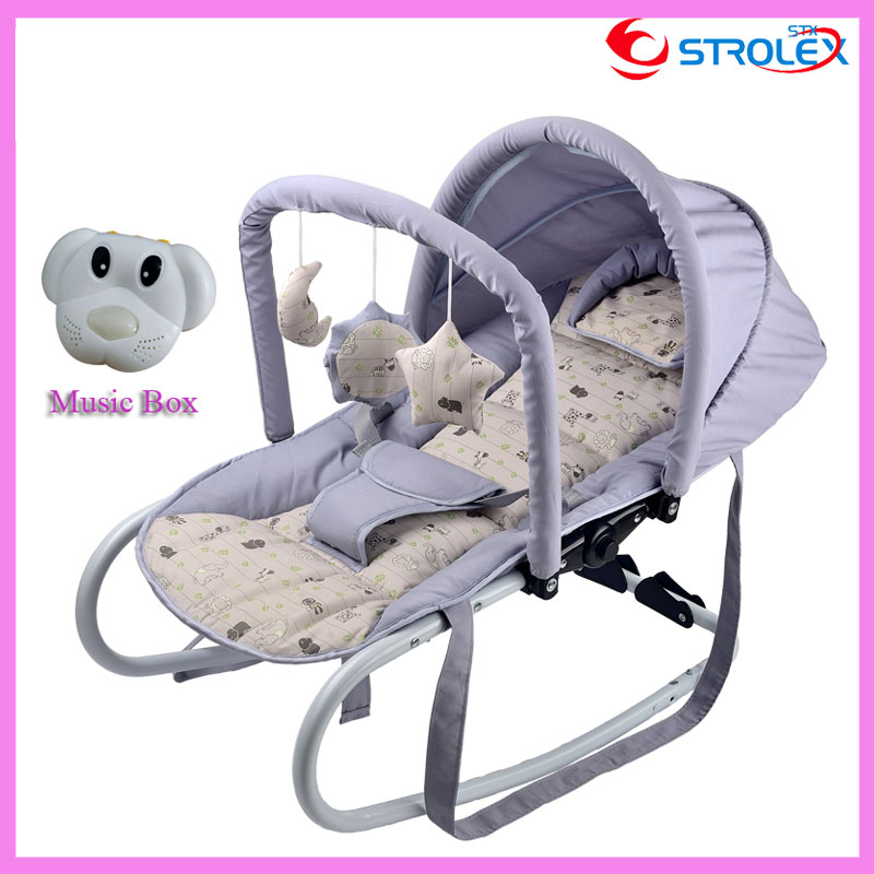 Functional Portable Newborn Infant Baby Trolley Swing Cradle Baby Rocking Chair Recliner Bouncer with Toys and Music Box  0~15 M newborn baby rocking chair comfort toddler cradle deck chair sleeping swing lounge chair bouncers with music pillow summer mat