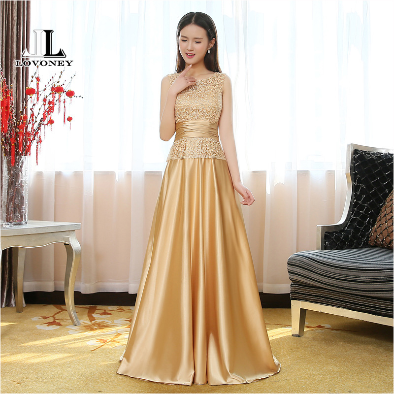 LOVONEY Elegant Golden A Line O Neck Long   Evening     Dress   2019 Formal Party   Dresses     Evening   Gown Vestido De Festa Longo T403