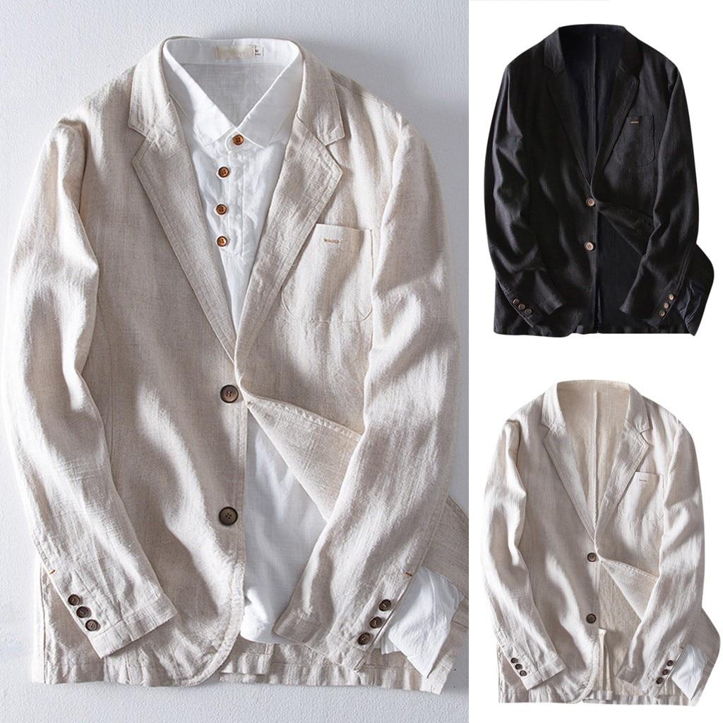 New Men's Slim Fit Linen Blend Pocket Solid Long Sleeve Suits Blazer Masculino Outwear Blazer Masculino Slim Fit Dropshipping