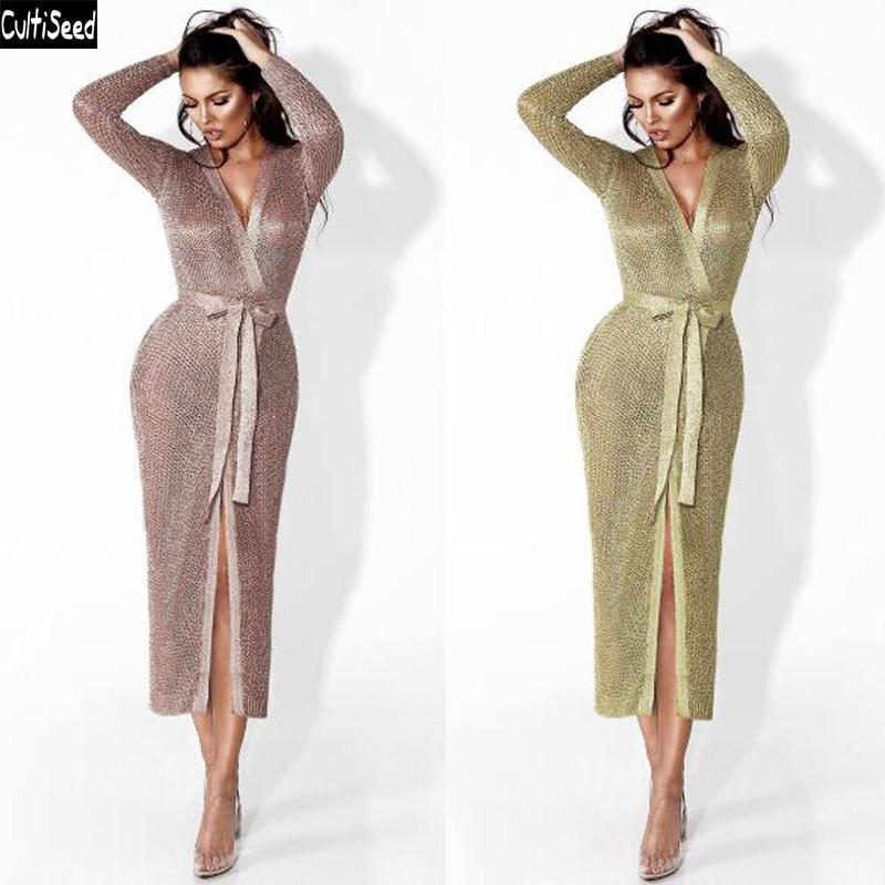 Cultiseed femmes Sexy col en V profond tricoté longue robe femme Rose or à manches longues robe dames à lacets ceinture longues robes