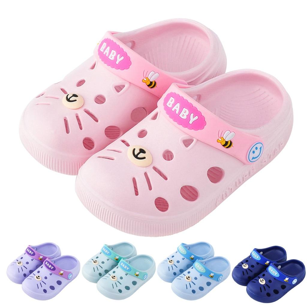Baby Girl Cartoon Cat Toddler Beach Water Garden Slippers Kids Boy Cave Shoes Children Summer Flip Flops Indoor Cute Sandals