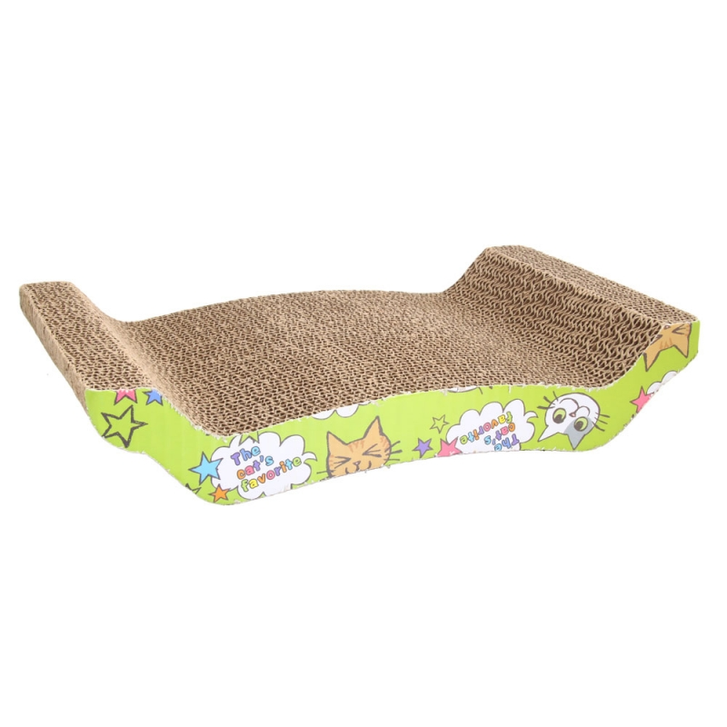 Cute U Shape Corrugated Paper Pet Cat Toy Cat Claw-grinding Plate with Catnip Earthy Yellow