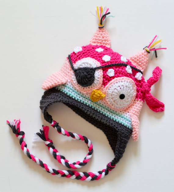 Piraten eule Earflap Beanie Hut Junge Mädchen Gehäkelte Winter Hut ...