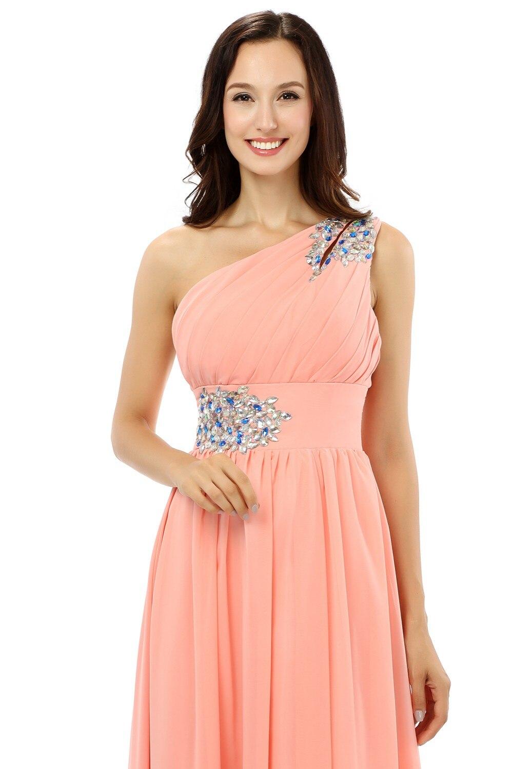New 2018 Cheap Bridesmaid Dresses Under 50 A line One shoulder Floor ...