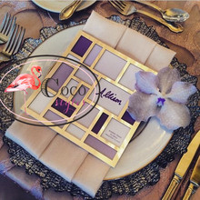 super creative mirror gold acrylic menu card place card table cards