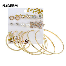 NADEEM 2017 Fashion New 10Pairs/Sets Circle Earrings Set For Women Gold Color Crystal,Bow,Heart,Pearl Stud Jewelry