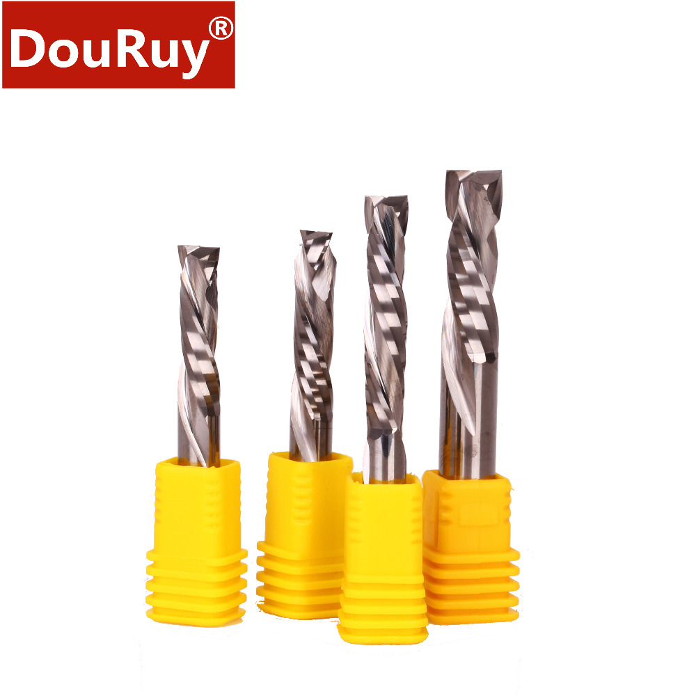 1PC shank 3.175-8mm high quality up & down cut two flutes spiral end mill cutter router bits for wood, plywood, MDF,, PVC, log цены