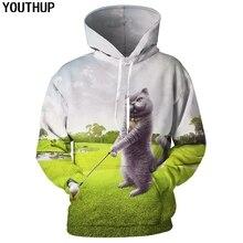 Youthup 2020 casual 3d hoodies dos homens animal com capuz hoodies 3d gato jogar golfe impressão engraçado moletom dos homens 3d pulôver streetwear 5xl