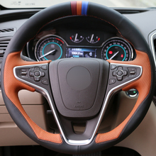 DG DIY Hand-stitched Orange Black Leather Car Steering Wheel Cover for Buick Regal Opel Insignia 2014 2015