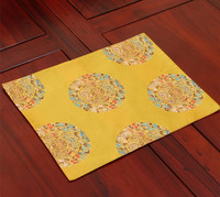 Rectangle Ethnic Lucky Placemats Natural Silk Brocade Fashion Simple Chinese Style Dining Western Food Mats Insulation