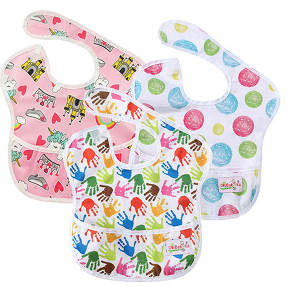 Mother & Kids Ohbabyka 3pcs/pack Waterproof Superbib Flamingo Kids Feeding Bibs With Pocket Baby Cloth Accessory For Eating Baby Girl Clothes Boys' Baby Clothing