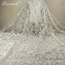 1yard new style Vintage Embroidery Polyester Net French Nigerian Lace Fabric In White For Wedding Dress, Home Party Decoration