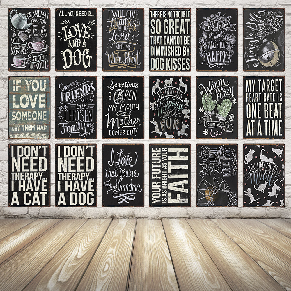 [ Kelly66 ] Love Dog Mom Quote Vintage Metal Sign Tin
