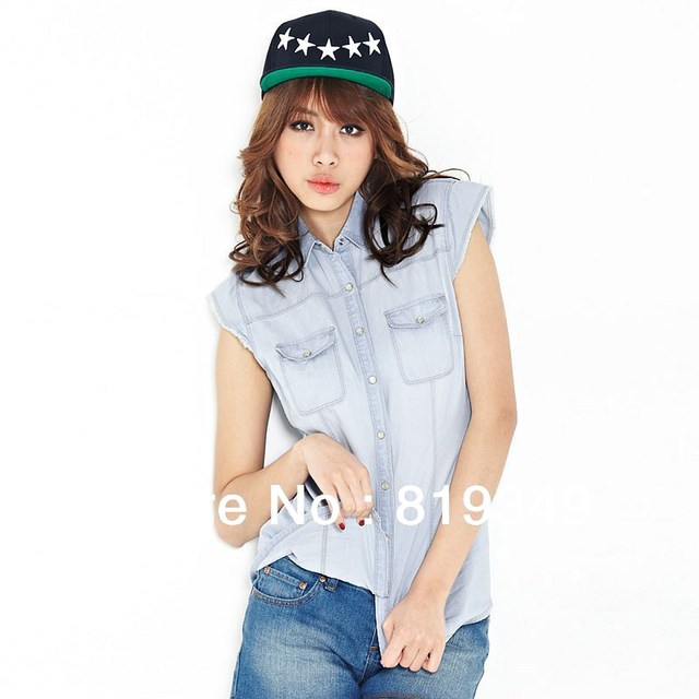 2013 NEW Arrival VANCL Women Stylish Summer Blanche Slim Denim Shirt Good Temperament Slim Fit Blue/White FREE SHIPPING