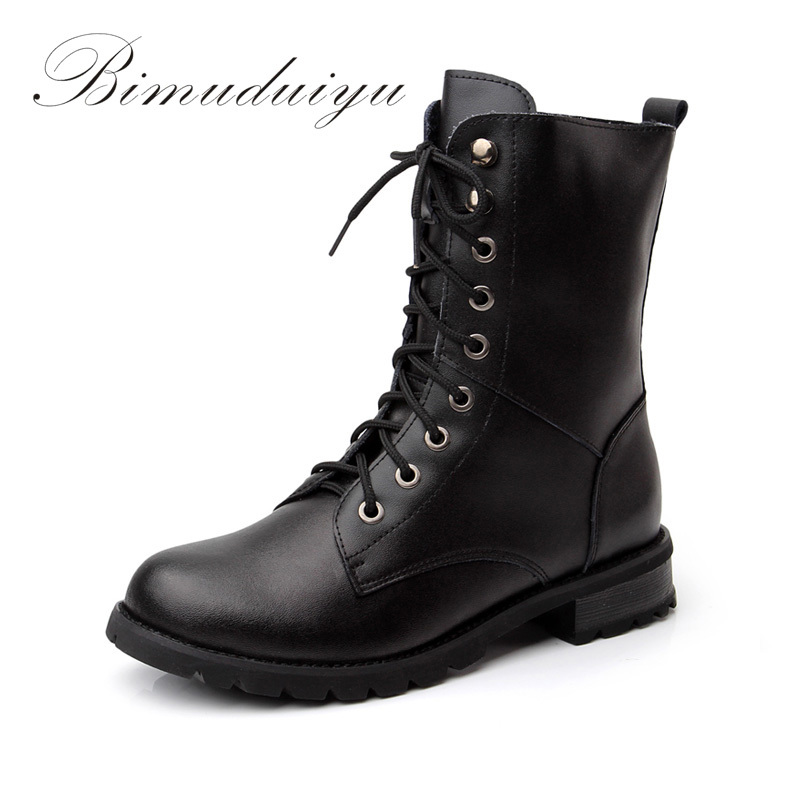 BIMUDUIYU Single/Winter Warm Plush Really Leather City Lady Mid-Calf Martin Boots Waterproof Women Motorcycle Riding Shoes Sale double buckle cross straps mid calf boots