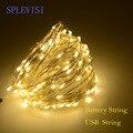 SPLEVISI 2 M 3 M 5 M 10 M USB/alimentado por batería de plata led cadena de luces de hadas de garland fiesta de árbol de Navidad decoración de luz