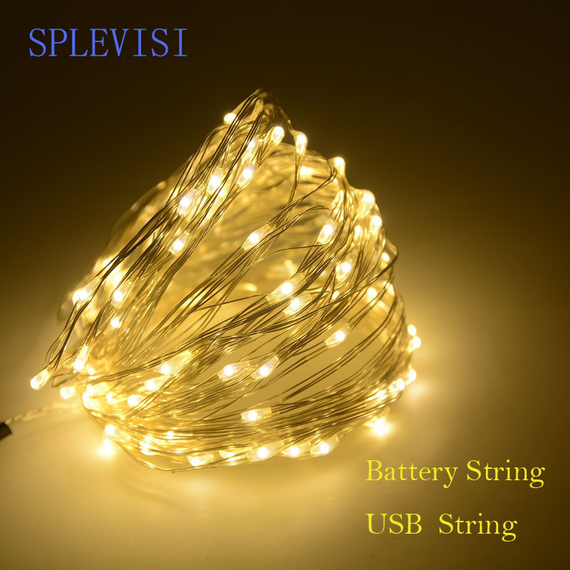 SPLEVISI 2M 3M 5M 10M USB Powered / Батареямен жұмыс істейтін Silver led led fairy lights garnlane Party Christmas Tree Decoration Light