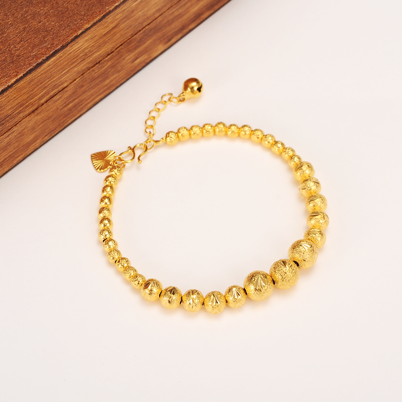 17cm + 4cm Lengthen Ball Bangle Women 24k Real Solid Yellow Gold GF Round Beads Bracelets Jewelry Hand Chain heart tapestried