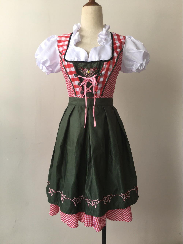 Bavaria Oktoberfest Dirndl Beer Wench Maid Costume Dress + Apron