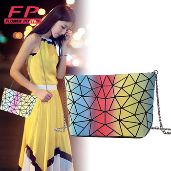 2021 Fashion Rainbow Bag Women Chain Handbag Lightnig Luminous Geometry Women Shoulder Bags Plain Folding Messenger Bag bolso image