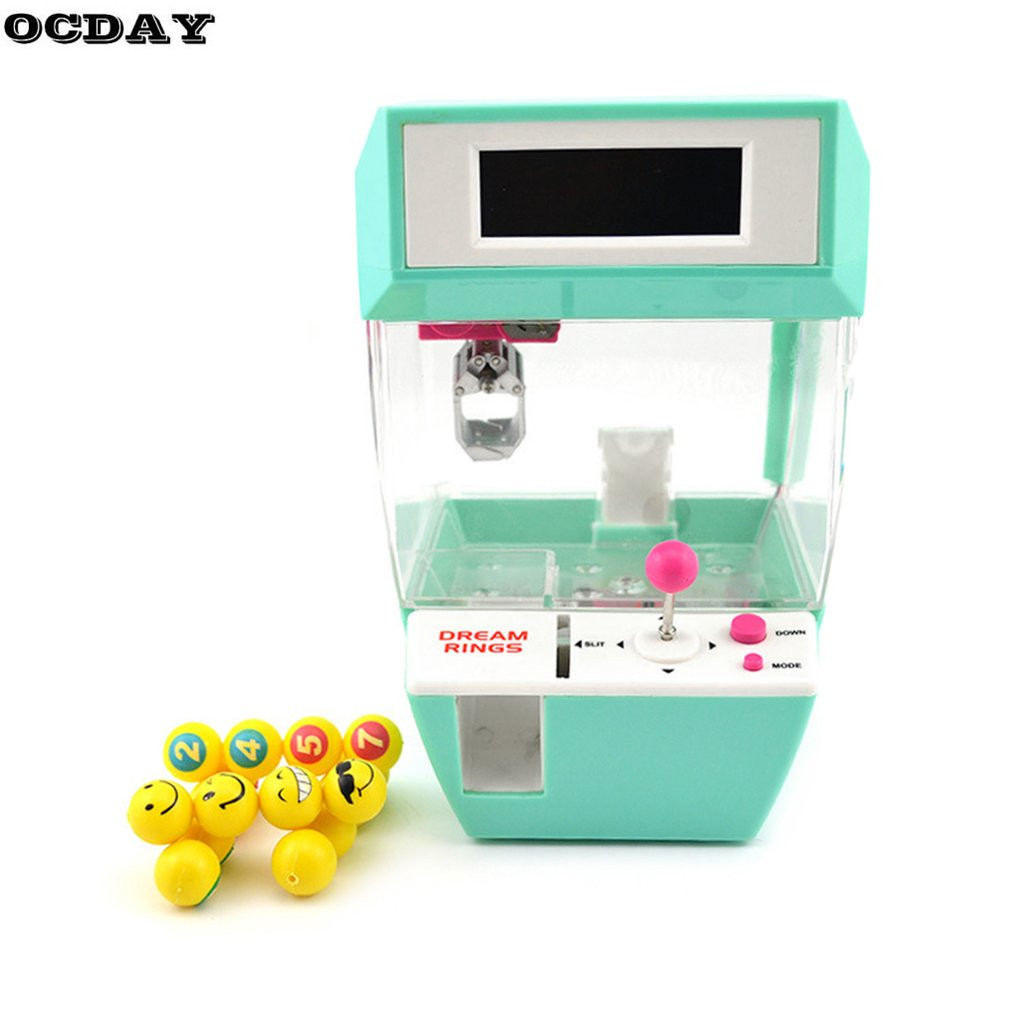 OCDAY Coin Operated Candy Grabber Doll Mini Crane Claw Machine With Alarm Clock Function Catcher Board Game Fun Toys For Kids hot sales frp kiddie ride on toy cars coin operated kiddie ride coin swing riders for kids swing machine