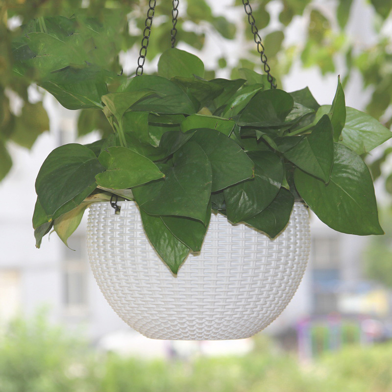 Image 5 - Rattan Round Hanging Basket Self Watering Flowerpot Plastic Resin Plant Holder Container Succulent Plants Home Garden Decoration-in Flower Pots & Planters from Home & Garden