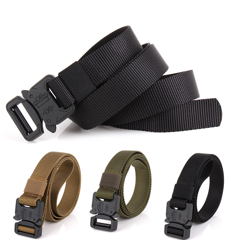 Military Tactical Army Tactical MOLLE Belt Men Zinc Alloy Safetuy Clasp, Comvenient Unlock Quivkly 1000D Oxford Cloth Belt