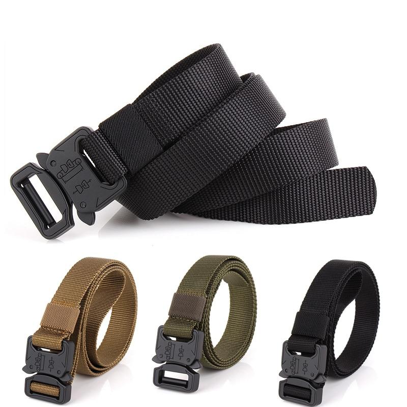 Military Tactical Army Tactical MOLLE Belt Men Zinc Alloy Safetuy Clasp, Comvenient Unlock Quivkly 1000D Oxford Cloth Belt