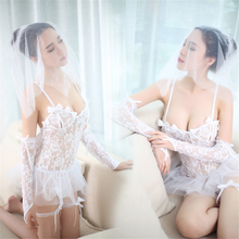 New Porn Women Bride Lingerie Sexy Hot Erotic Lace Wedding Lingerie White See Through Costumes Role Play Elastic Tight Underwear