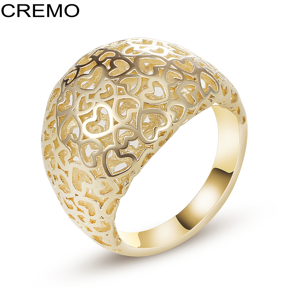 Cremo Rings For Women Shape Of Heart Gold Hollow Jewelry Engagement Ring Vintage 3-Dimensional Designer Rings цены онлайн